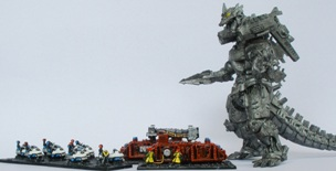 Mechagodzilla vs the firemen.