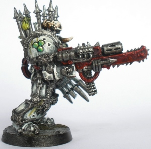 Side view of a colossal Chaos Terminator weapon (Combi-Melta).