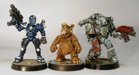 L to R: 40k Rogue Trader era Imperial Assassin, Four A Alien Life Form, 40k 3rd edition Space Marine.