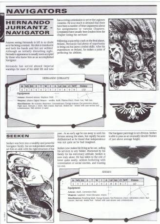 The page of sample Imperial Navigators from the Book of the Astronomican