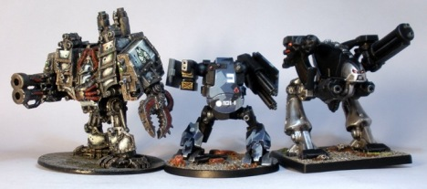 L to R: Chaos Dreadnought, Grymn Walker, Space Crusade Chaos Dreadnought