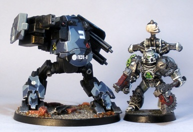 L to R: Grymn Walker, Chaos Space Marine