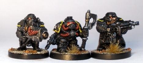 L to R: Forgefather Stormrage Vet, Squat Adeptus Mechanicus, Forgefather Steel Warrior