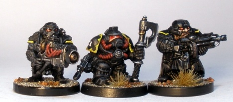 L to R: Forgefather Stormrage Vet, Squat Adeptus Mechanicus, Forgefather Steel Warrior