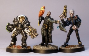 L to R: GW Rogue Trader era Inquisitor, Ramshackle Games Thaddeus, GW Rogue Trader era Navigator