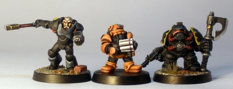 L to R: Grymn Torstem, Iron Bonce, Squat Adeptus Mechanicus