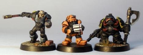 L to R: Grymn Torstem, Iron Bonce, Squat Adeptus Mechanicus