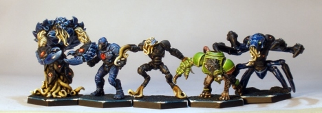 L to R: Nameless Hard Guard, Corporation Human, Nameless Sticky Guard, Veer-myn Striker, Nameless Striker.