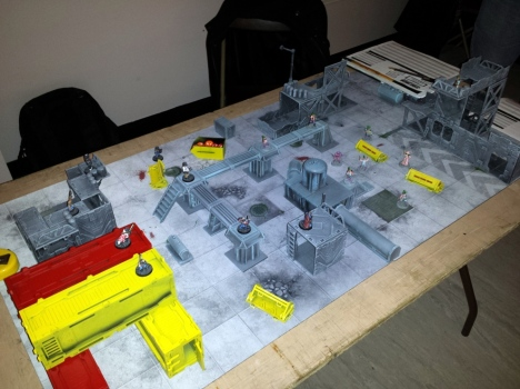 Warlord Games Judge Dredd Miniatures Game demo table (using Deadzone terrain)