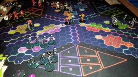 The Regional Ultimate DreadBall game in play.  Note the Zegema beach Zephyrs in the foreground.