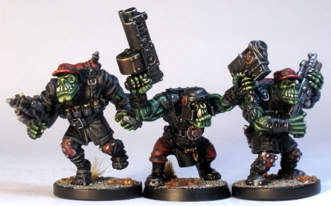 L to R: Mantic Deadzone Marauder Orx, GW Ork, Mantic Deadzone Marauder Orx
