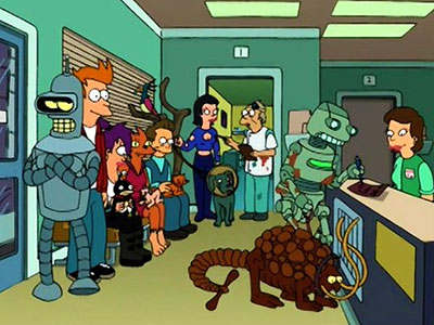 A robot buys a licence for a poorly chosen Rust Monster pet in Futurama.