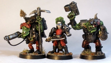 L to R: Nazgrub Wurrzag Gorkamorka special character, Blood Axe Human Advisor, AoBR Nob