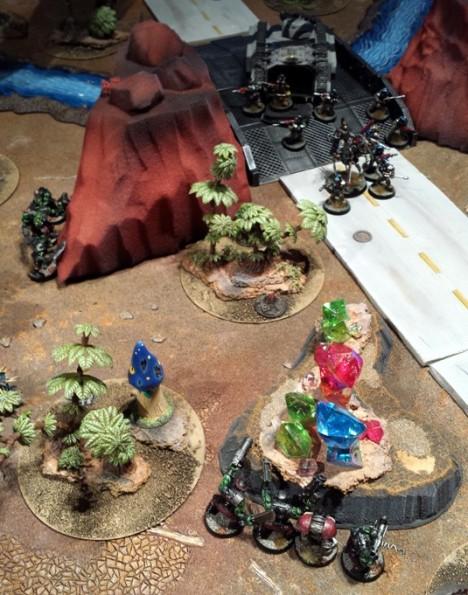 Bigdogz orks prove that they have brains to match their good looks, setting up an ambush for the Death Ferrets detachment.