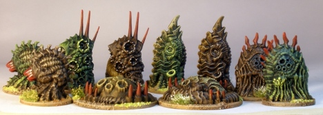 Sedition Wars techno-organic terrain pieces.