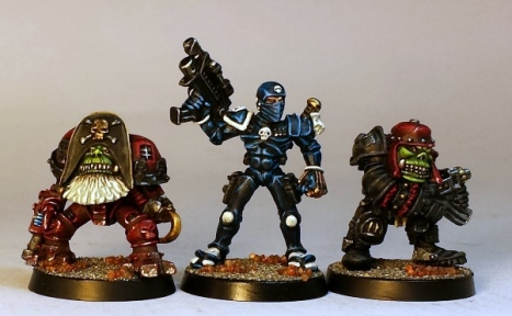 L to R: 1990 cybork, Imperial assassin from 1990 or so, ork from 1987ish.