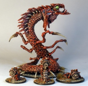 Reaper Ice Wyrm (rear) and GW Necromunda Milliasaurs (front)