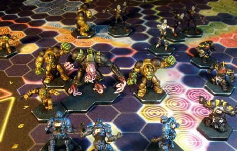 Lester leads the B.P. Oiler charge into the O.C.P. Patriots as Rupture Farmers and Ursa Miner Bruins look on.