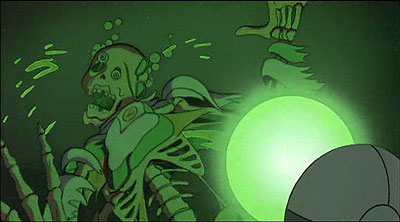 Heavy Metal Astronaut having his face melted by green glowing stuff.