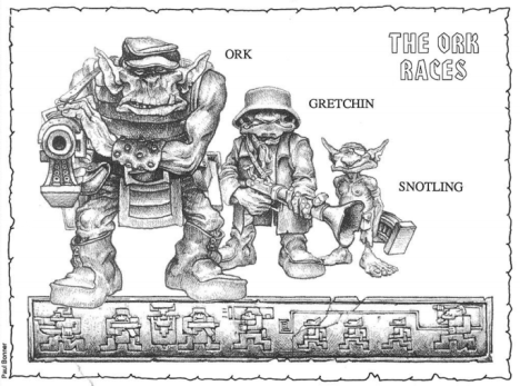 Paul Bonner Illustration of The Ork Races from Waaargh the Orks.