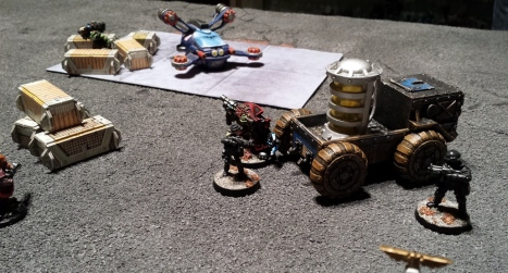 Whistling tunelessly, Kaptin Fiddly sidles up to the refuelling apparatus and plants the tracer, even as Cartel security start giving him some grief.  The tracer/transmitter which will be transferred to the shuttlecraft via the fuel lines.  Although Fiddy doesnt plan to let the Purgators get to orbit without a fight, an ork doesnt get to wear a bicorne in the Skallywags without knowing the value of a backup plan.