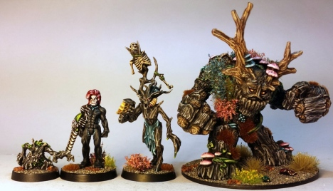 "L to R: Reaper ""Stumpy"", Hasslefree Ieuan, GW Dryand/Tyranid, Reaper Spirit of the Forest"