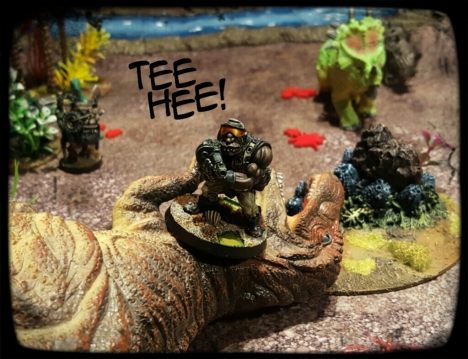 On some level I have waited my entire life for a toy soldier space ogre to bump off a t-rex.  Im not even joking.