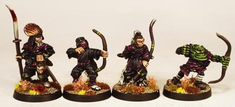L to R: Foundry (Ex Citadel) Samurai, Citadel Ninja, Foundry (Ex Citadel) Samurai, Marauder Orc